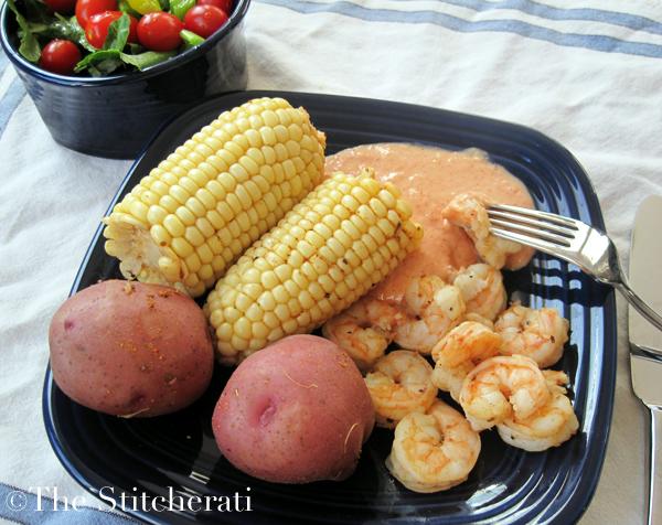 Cajun shrimp, corn and potatoes