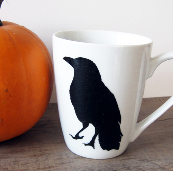 Stenciled Gothic Raven Mug