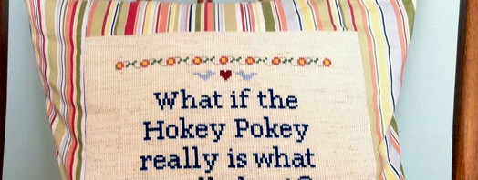 Hokey Pokey cross-stitch pillow