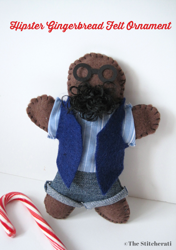Hipster Gingerbread Man Felt ornament