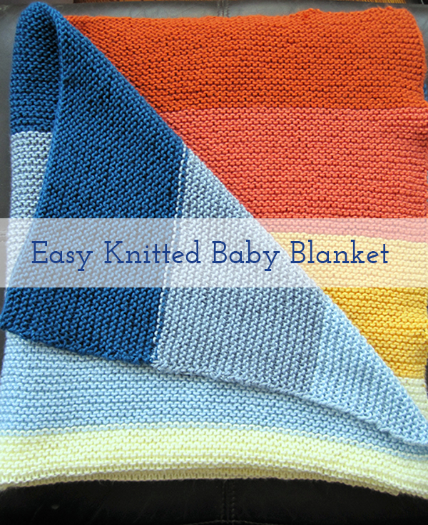 Knitted baby blanket folded over-title